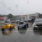 GEEL-BLAUW-ZWARTE CARS  met grijs weer.
